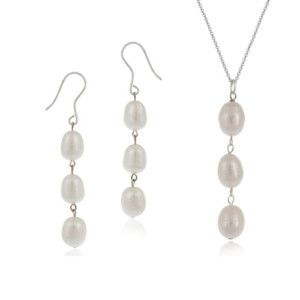 Freshwater Pearl Earrings Necklace Set 5 Colors