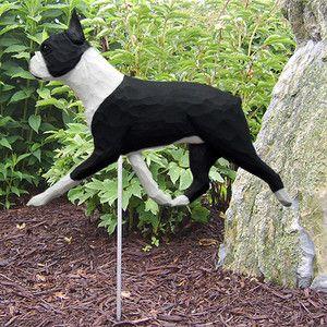 Boston Terrier Outdoor Garden Dog Sign Figure Statue Hand Painted Hand