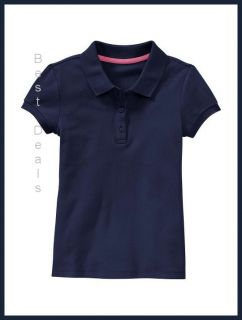 Gap Kids Uniform Girls Soft Pique Polo Navy Blue New Free Fast
