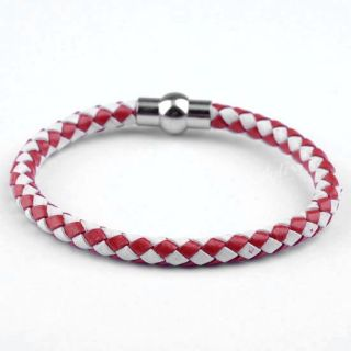 Braided PU Leather Friendship Bracelet Magnetic Clasp Wristband
