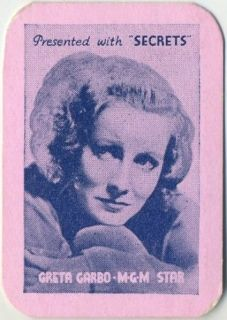 GRETA GARBO Vintage 1935 Secrets Mini Playing Card   Movie Star