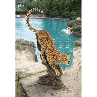 Savannah Pouncing Cheetah Exotic Big Cat Garden Statue Sculpture