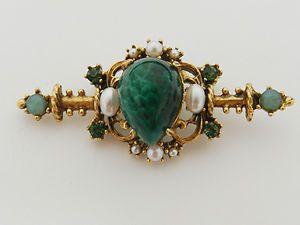 Estate FLORENZA Green Gemstone & Pearl Brooch Pin