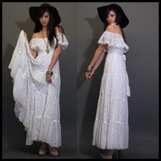GUNNE SAX WHITE FLORAL GARDEN WEDDING PRAIRIE HIPPIE BOHO MAXI DRESS