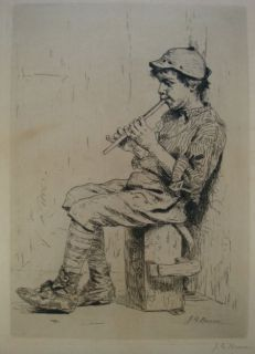 John George Brown 1831 1913 Boy with Flute Etching