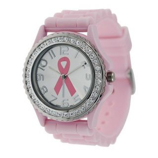 Geneva Pink Ribbon Breast Cancer Awareness Silicone Rhinestone Watch