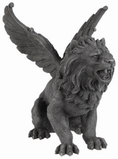 Winged Lion Gargoyle Statue Home Collection Figurine Decoration Skull