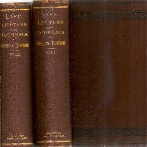 Volume Set Life Letters Journals of George Ticknor Fine Binding