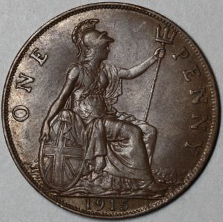 1915 Large Bronze Penny King George V Great Britain