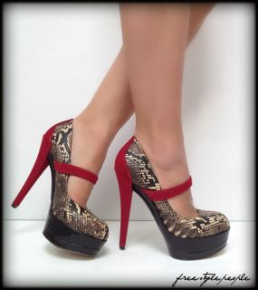 New Jessica Simpson Black Red Cheetah Snakeskin Print Platform Pumps