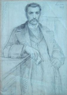 Maximilien Luce Original Signed Portrait Drawing Man 1907 French
