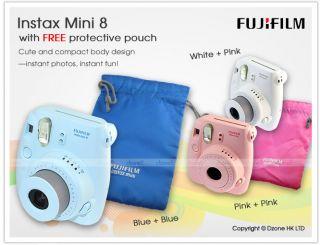 Fujifilm Instant Instax Mini 8 Polaroid Film Camera Pink Color Pouch