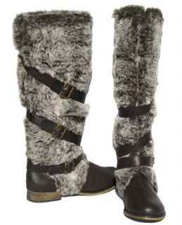 New Womens Knee High Winter Boots Brown Fur Snow Shoes Ladies Size 6