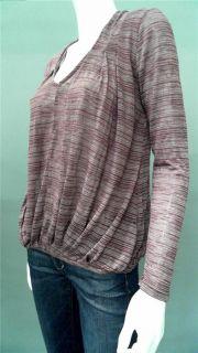 Ella Moss Georgie Ladies Womens s Stretch Knit Top Purple Striped Long