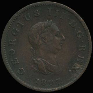 Great Britain 1807 Half Penny King George III Coin XF