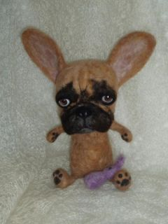 Artist Needle Felted French Bull Dog with Bunny O O A K