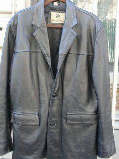 REM GARSON Classic Black Leather Car Coat LARGE