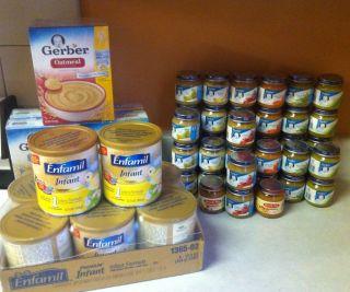 of Enfamil Formula 25 jars of Gerber baby food 2 boxes of baby cereal
