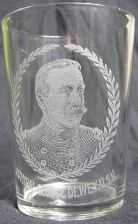 Pre Pro Political Beer Glass Etched Admiral George Dewey USN