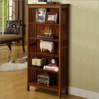 Furniture of America Valencia Solid Wood Media Shelf Bookcase in