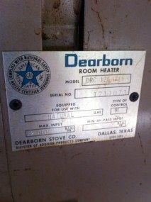 Vintage Dearborn Gas Space Room Heater with Ceramic Grates