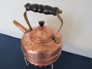 VINTAGE SIMPLEX 1.5QT COPPER GAS COIL TEA KETTLE MADE IN ENGLAND