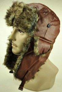 NEW! FAUX LEATHER FUR EAR FLAP COVER SKI BEANIE BOMBER TROOPER WN 3572