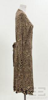 Diane Von Furstenberg Brown Tan Print Silk Long Sleeve Wrap Dress Size
