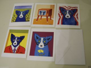 Lot of 5 george rodrigue Blue Dog 2000 cards with envolopes