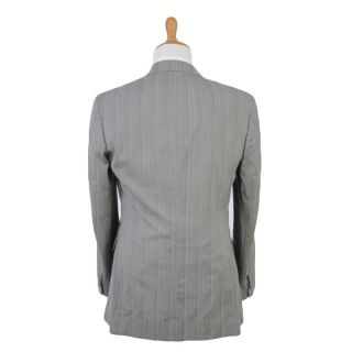Gianfranco Ferre Light Gray Wool Cotton Three Button Striped Suit US
