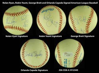 1999 HOF Nolan Ryan George Brett Robin Yount Cepeda Signed Baseball