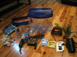 HUGE LOT 5 Gallon Fish Tank + Accessories FILTER PUMP AQUACLEAR VACUUM