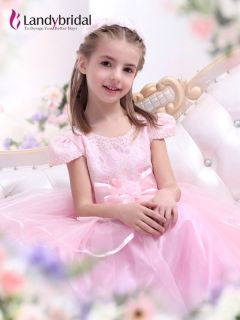 Elegant Pink Wedding Flower Girl Dress Party Dresses Free Size Custom