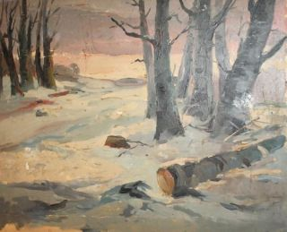 Russian Oil Painting Winter Landscape Signed Leon Gaspard