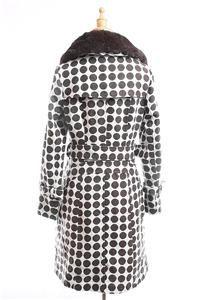 NWT AUTH $1250 Gaspard Yurkievich Fur Collar Polka Dot Wool Coat Gray