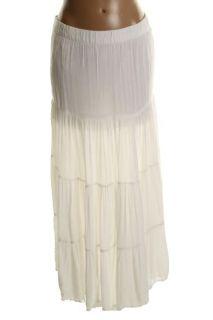 Famous Catalog New White Gauze Elastic Waist Maxi Skirt 4 BHFO