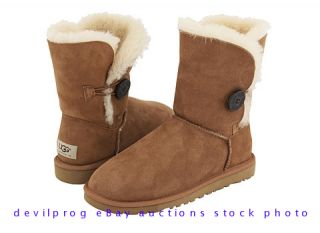 UGG Australia Womens Bailey Button Sheepskin Suede Boots Chestnut US 9
