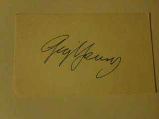Gig Young (d. 1978) actor Signed cut Autograph. Original signature on
