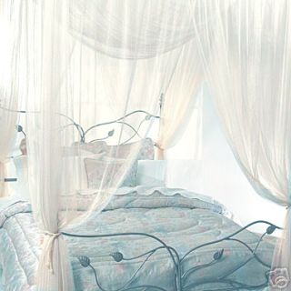 Ivory Four Corner Bed Canopy Mosquito Net Queen King
