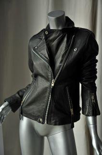 Gerard DAREL Black Leather Motorcycle Jacket Coat M 38