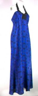 Geren Ford Long Blue Tile Kimono Halter Dress $397 XS