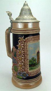 Vintage Handmade Lidded German Beer Stein ORIGINAL GERZIT/ GERZ W