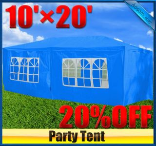 10 x 20 Blue Gazebo Party Tent Canopy with Side Walls