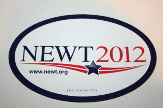 Newt Gingrich Official 2012 President Campaign Bumper Sticker