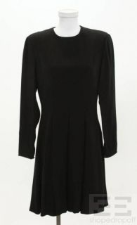 Giorgio Armani Black Long Sleeve Pleated Dress Size US12