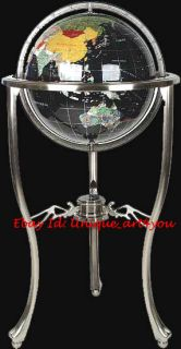 36 Tall Black Onyx Gemstone World Globe with Tripod Silver Stand w