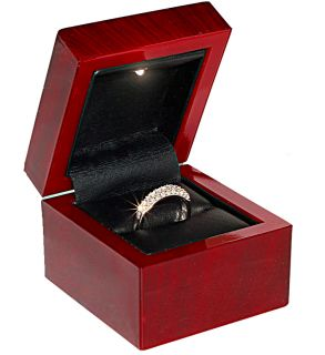 Mahogany Cherry Gift Ring Box with Light Plastic Material