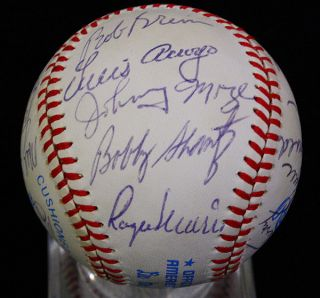 1980s OLD TIMERS GAME SIGNED BASEBALL JSA ROGER MARIS, JOE DiMAGGIO