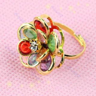 Flower Resin Bead Ladys Fashion Cocktail Finger Ring Gift