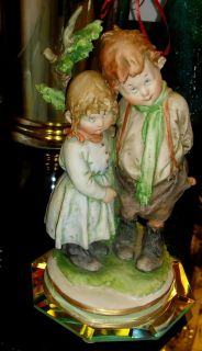 GIUSEPPE CAPPE CAPODIMONTE YOUNG BOY & GIRL BROTHER & SISTER SCULPTURE